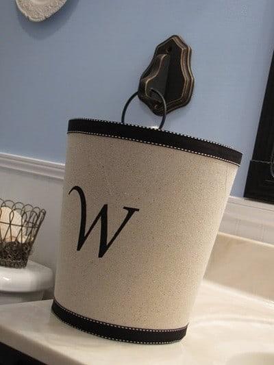Monogrammed Linen Waste Basket
