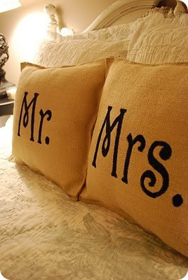 DIY Home Decor | Mr. and Mrs. Burlap Pillows ~ You don't need any sewing skills or fancy tools to knock off these Ballard inspired pillows for $3. Just some burlap and paint will do the trick!