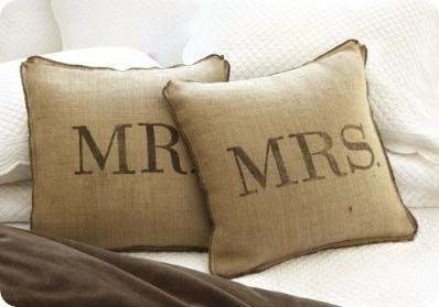 mrs & mrs burlap pillow