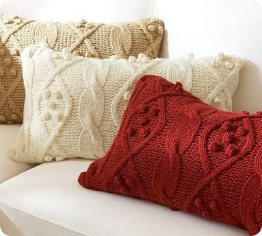 Bobble-Knit Lumbar Pillow Cover