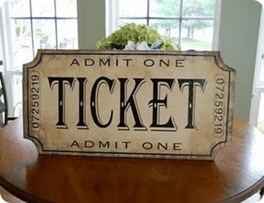 Admit One Ticket Plaque