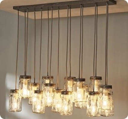 Best of PB #7: Made-from-Scratch Mason Jar Chandelier:Exeter 16-Jar Pendant,Lighting