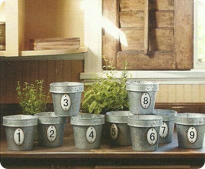 Galvanized Numbered Pots