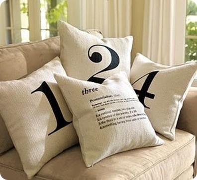 Drop Cloth Number Pillows