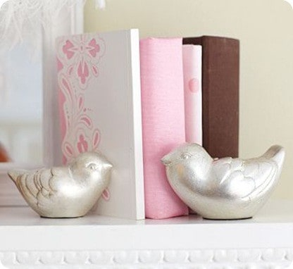 Silver Leaf Bird Bookends