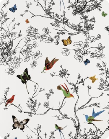 Birds and Butterflies Wall Covering