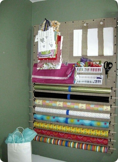 Burlap Pegboard Wrapping Station