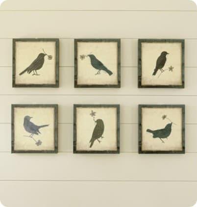 Framed Bird Silhouette Wall Art