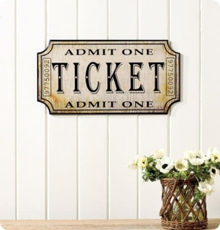 Vintage Ticket Plaque