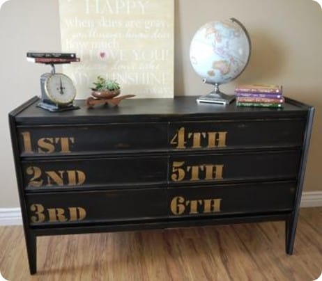 Black Dresser with Ordinal Numbers