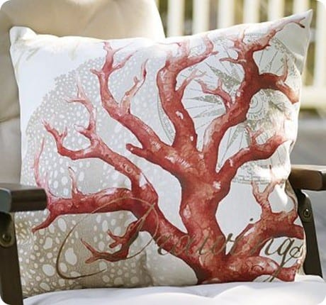 Coral Decoupage Outdoor Pillow