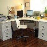 Large Corner Desk with File Cabinets