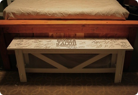 DIY Wedding Guest Bench
