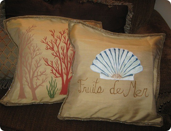 Hand painted nautical pillows