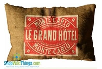 Le Grand Hotel Monte Carlo Burlap Pillow 24x16