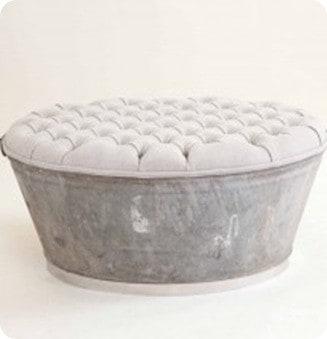 Linen Upholstered Ottoman Tub