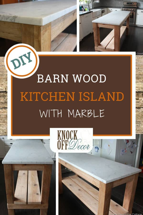 Reclaimed Wood Kitchen Island with Marble Top ...