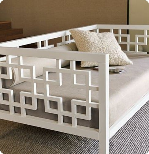 White Daybed With Geometric Design