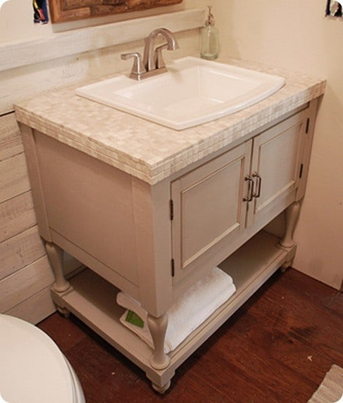 Tile bathroom vanity with cabinet for How to make a bathroom vanity out of furniture