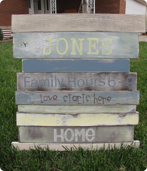 Wood Plank Sign : Amanda was inspired by the Planked Summer Sign from Pottery Barn .