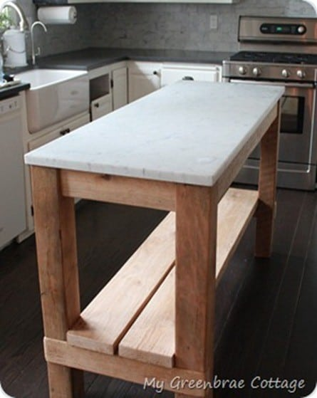 Reclaimed Wood Kitchen Island With Marble Top