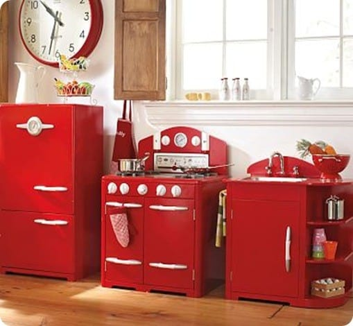 pics photos home toy kitchen sets red vintage wooden play kitchen