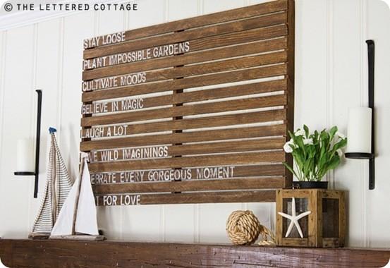 Wooden Slat Mantel Art with Sayings