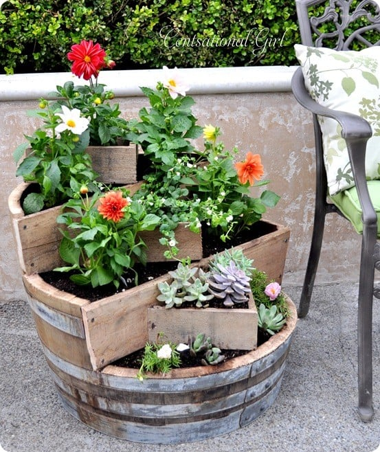 kates tiered recycled wine barrel planter