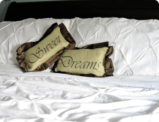 Burlap and Velvet 'Sweet Dreams' Pillows
