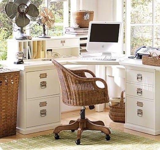 White Office Corner Desk