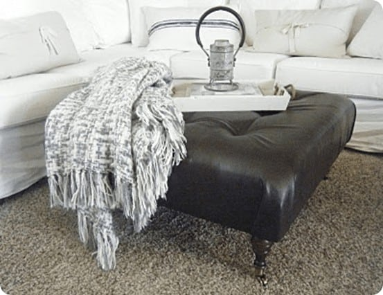 DIY Leather Ottoman with Tufting