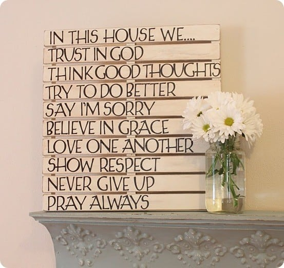Wall art quotes wood : Slatted sayings wall art