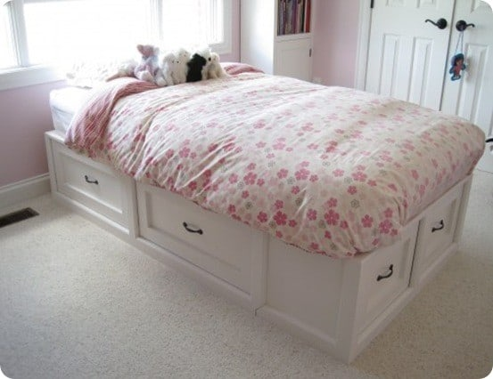 White Twin Storage Bed With Drawers