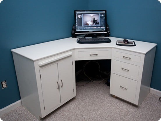 White Office Corner Desk