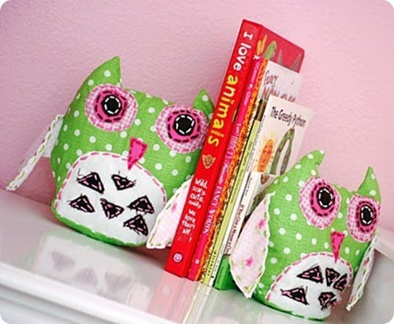 Girls Fabric Owl Bookends