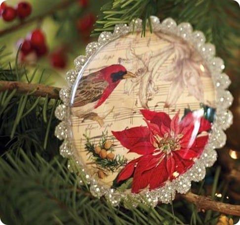 PB Bird Decoupage Ornaments