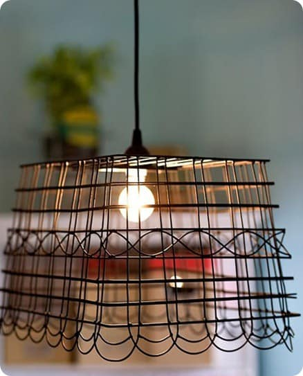 Wire Basket Pendant Light