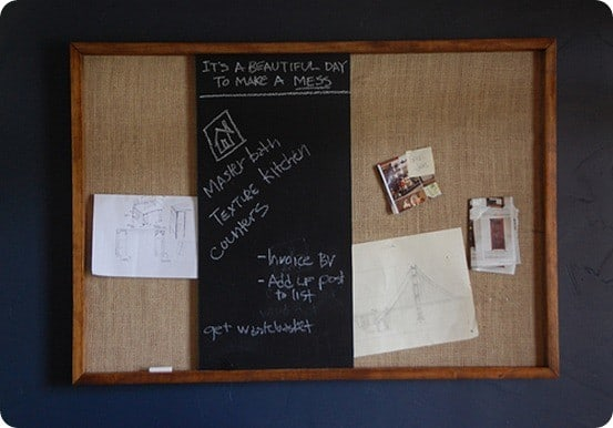 Burlap Pinboard With Sliding Chalkboard