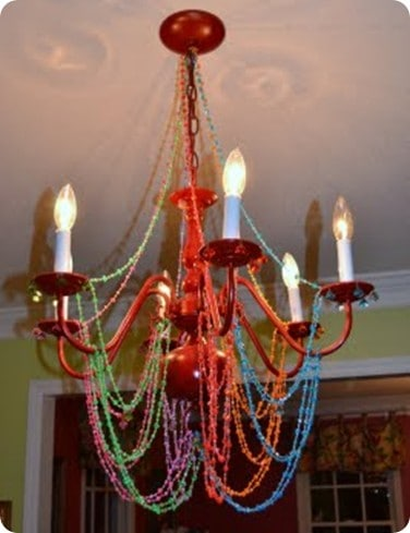 Colorful beaded chandelier