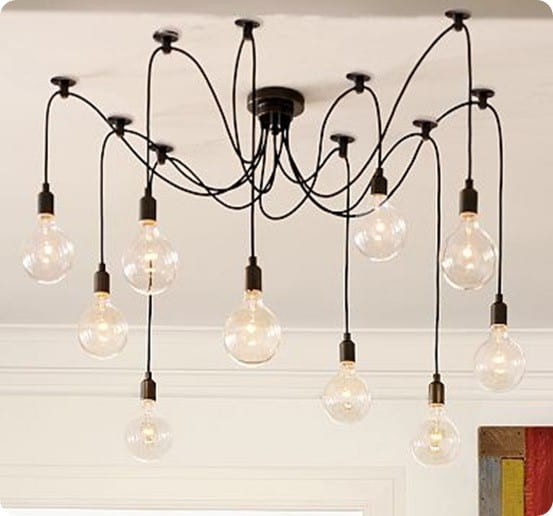 Edison Bulb Light Ideas 22 Floor Pendant Table Lamps: Industrial Wire And Bulb Chandelier