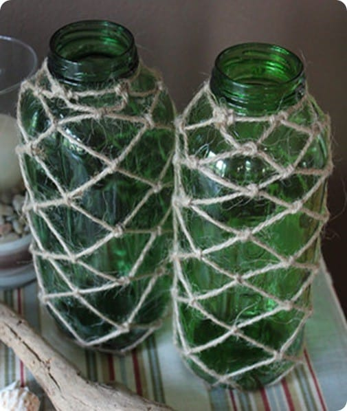 Jute Covered Green Glass Jars