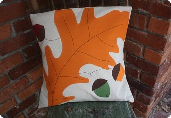Leaf and Acorns Pillow