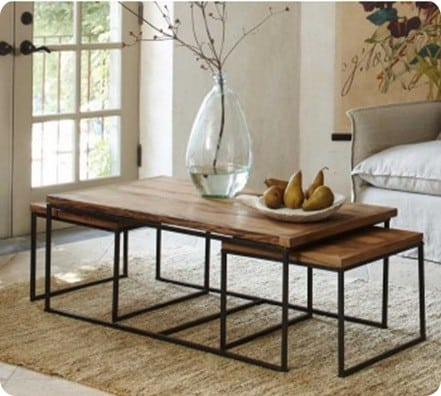 Two Piece Steel And Wood Coffee Table