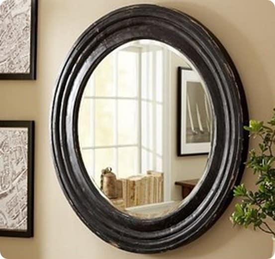 Round Chippy Mirror in Black