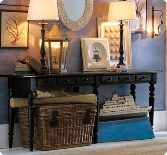 Curved Black Console Table - Pottery barn black console table