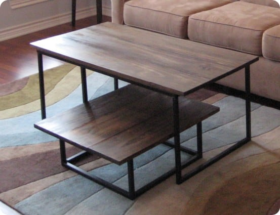 Two piece steel coffee table