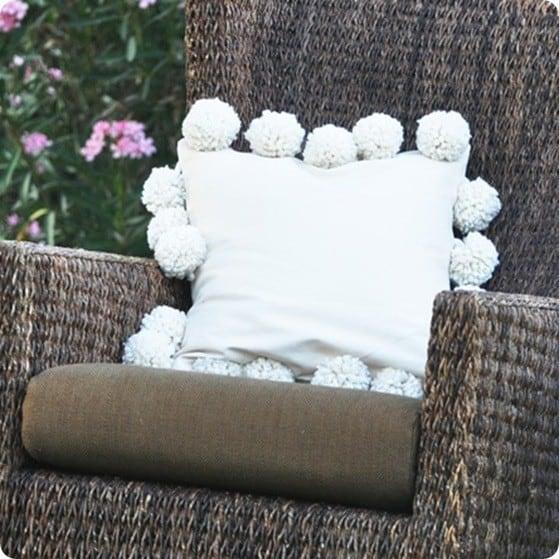 Large Pom Pom Trim Pillow