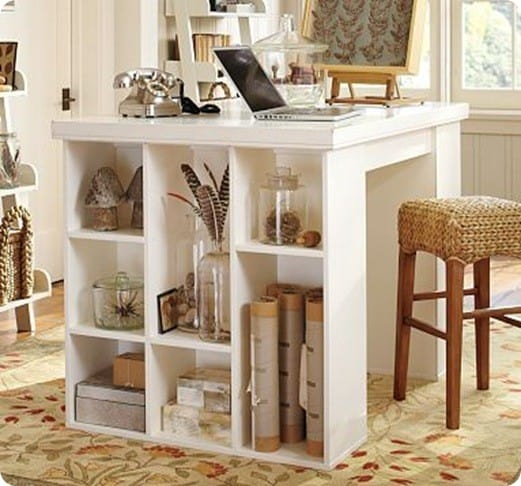 white cubby craft table