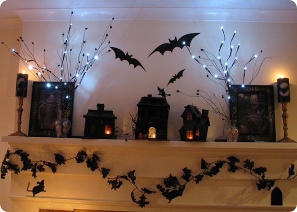 Black Halloween Mantel