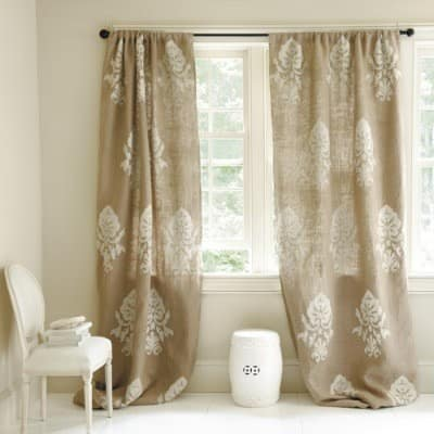 Isabella Black and White Damask Window Panel Curtains - Window